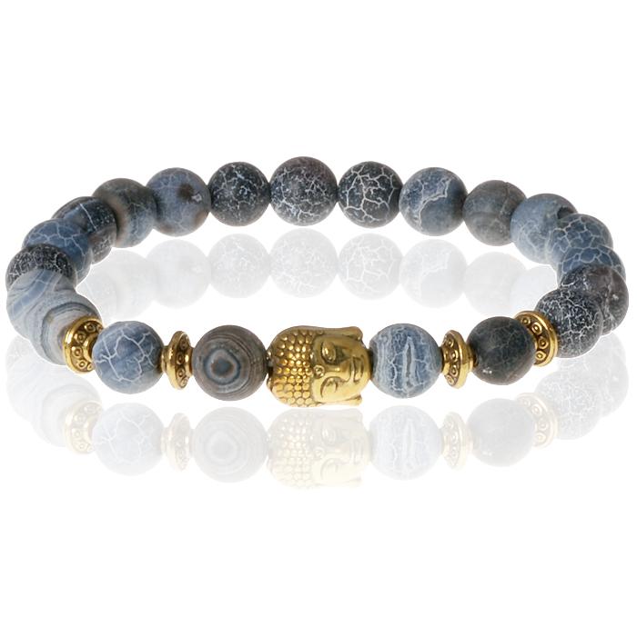 Memphis kralen armband Frosted Agaat Gold Buddha