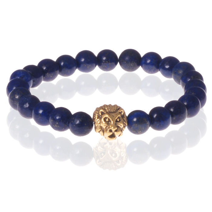 Heren kralen armband Lapis Lazuli Lion