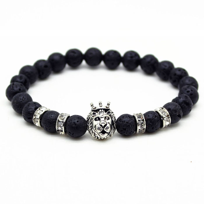 Memphis kralen armband mannen Lavasteen Lionhead Silver