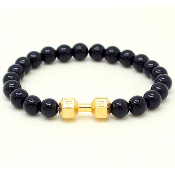 Memphis kralen armband Onyx Dumbbell Gold