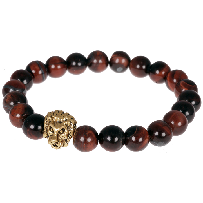 Memphis kralen armband heren Tiger eye Lion
