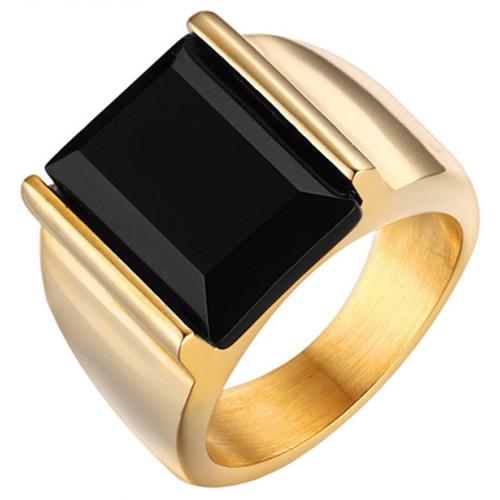 Mendes edelstaal zegelring Goudkleurig met Zwarte Agaat steen