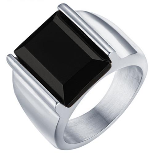 Mendes edelstaal zegelring met Zwarte Agaat steen-18mm