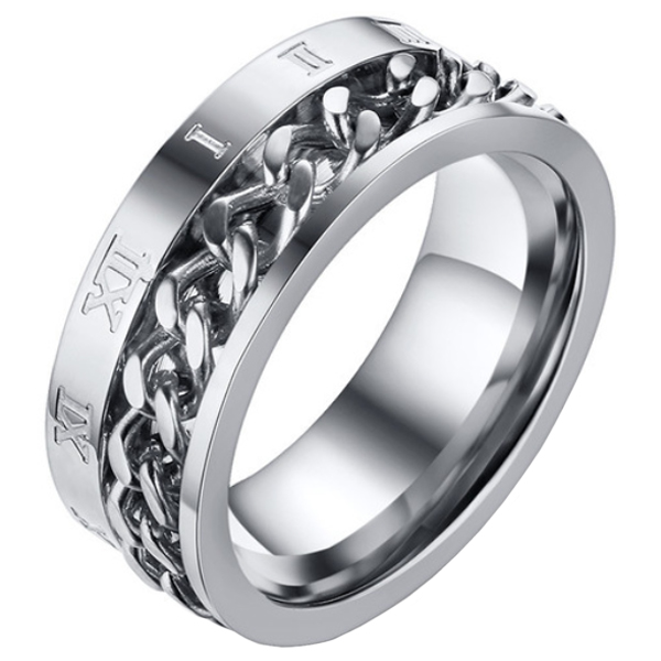 Mendes heren ring Cuban Link Roman Numeral Silver-18mm