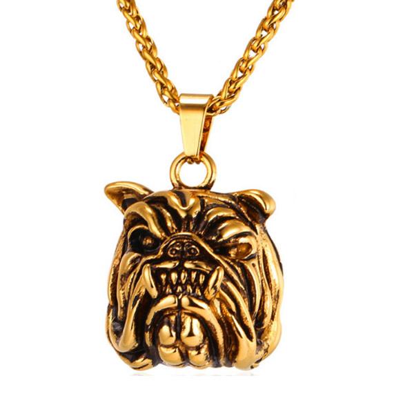 Mendes heren kettinghanger Bulldog Gold