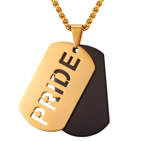 Mendes kettinghanger Pride Dogtag Gold