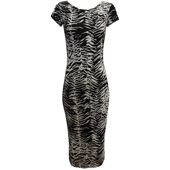 Zebra print Celebrity Midi Dress