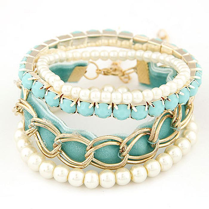Mode armband Pearl Multilayer Goud met Turquoise