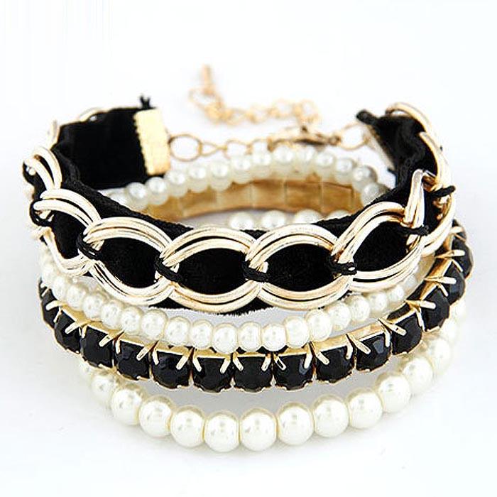 Mode armband Pearl Multilayer Goud met Zwart