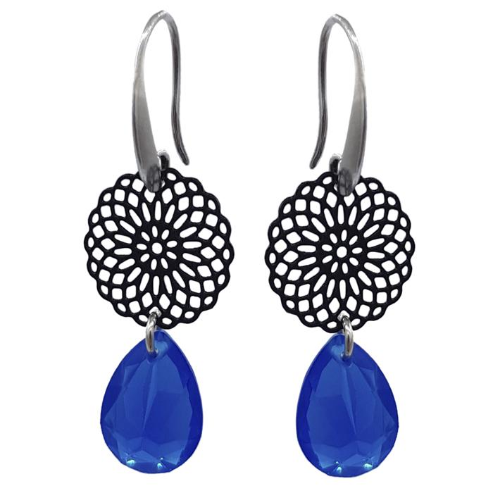 TABOO dames oorbellen NOLA BLACK/BLUE