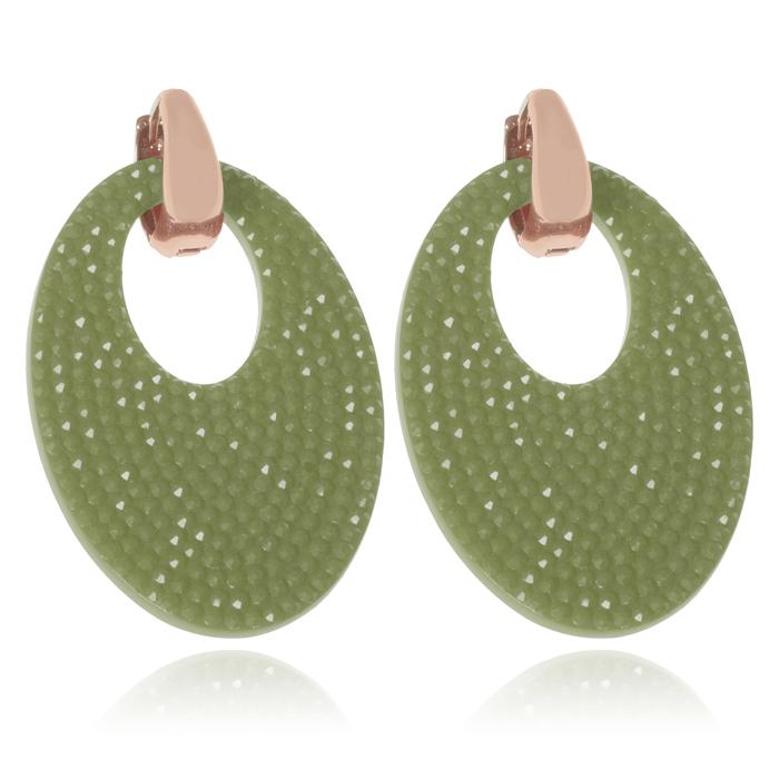 Ovale oorbellen Cilla Jewels Goud Groen