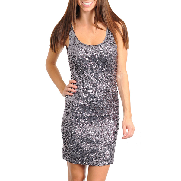 Pailletten Party Dress Silver