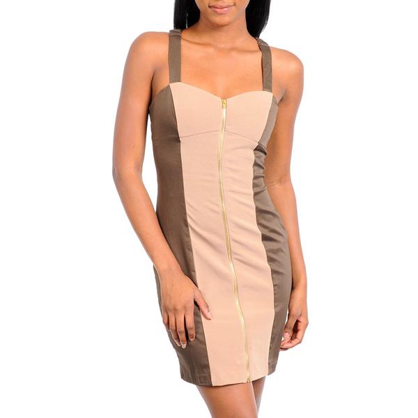Panel jurk Zipper Brown