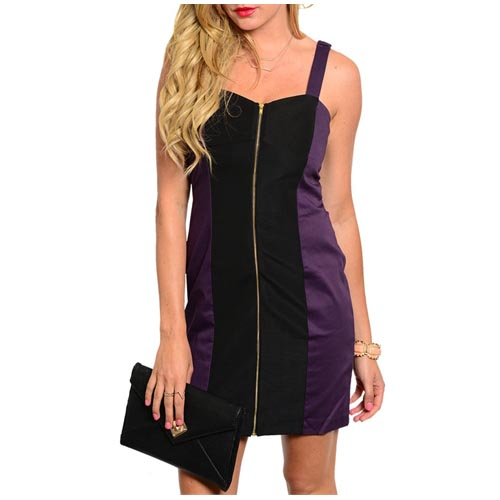 Panel jurk Zipper Purple