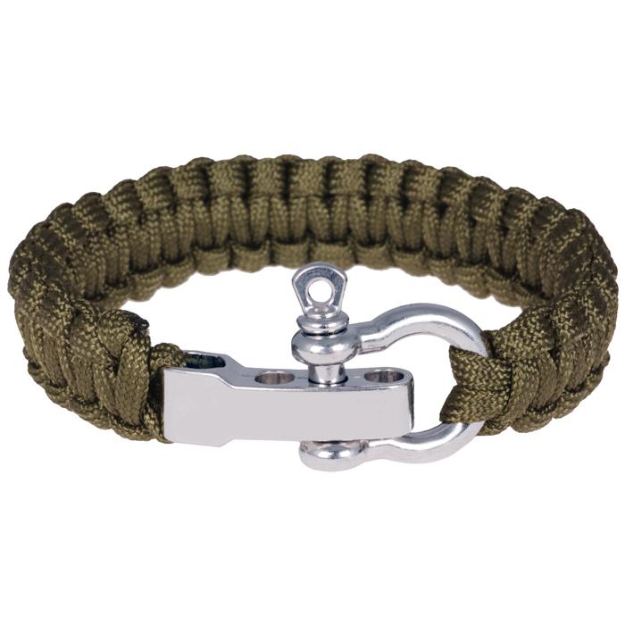 Paracord armband Legergroen met Zilver