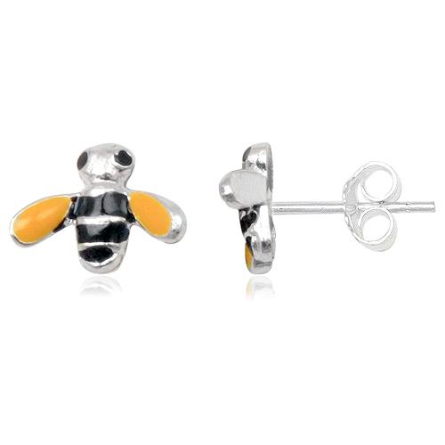 Kinder oorbellen 925 zilver Honey Bee