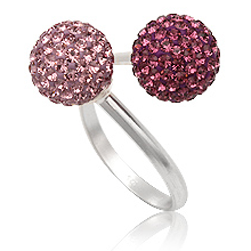 Prachtige Cocktail ring 925 zilver Preciosa Violet