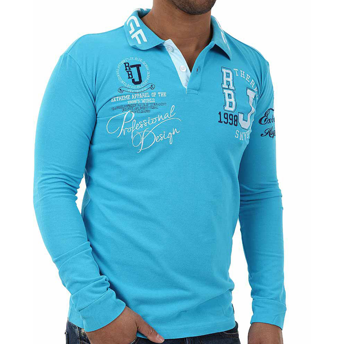 Red Bridge polo shirt long sleeved Turquoise