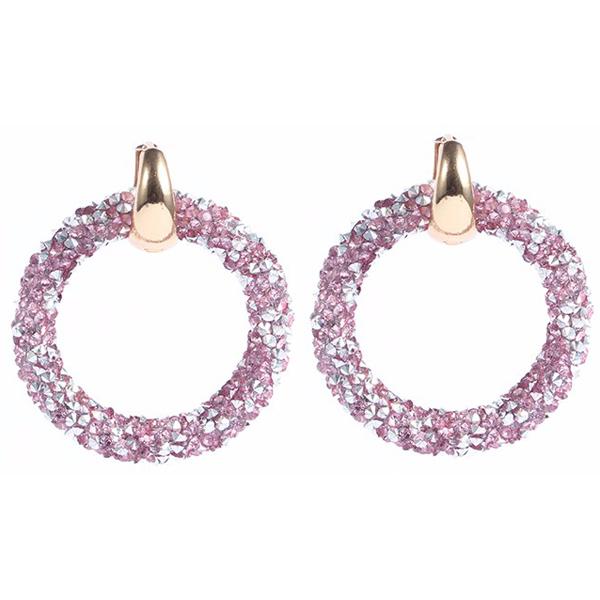 Ronde oorbellen Crystal Gold Pink