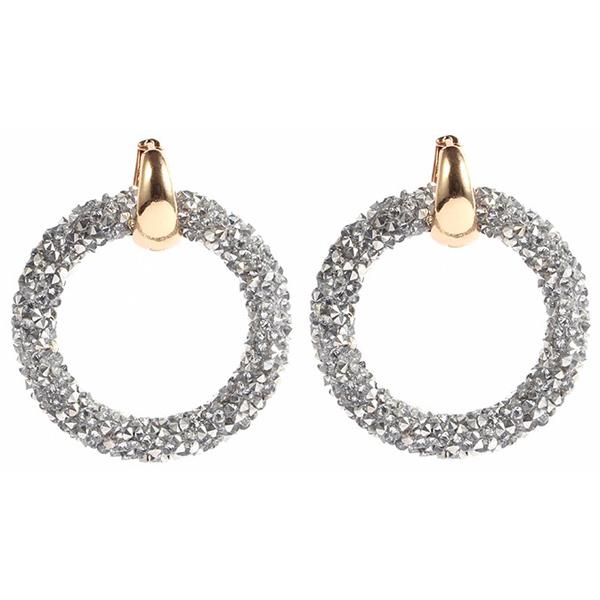 Ronde oorbellen Crystal Gold Silver