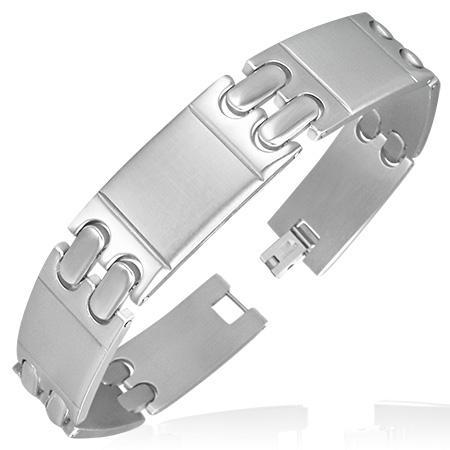 RVS armband Engravable Diagonal Panther Link