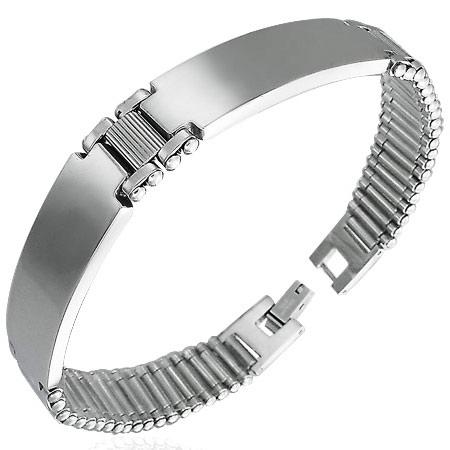 Rvs heren armband uitgevoerd met twee id plaatjes waar optioneel gegraveerd kan worden. de armband heeft een ...