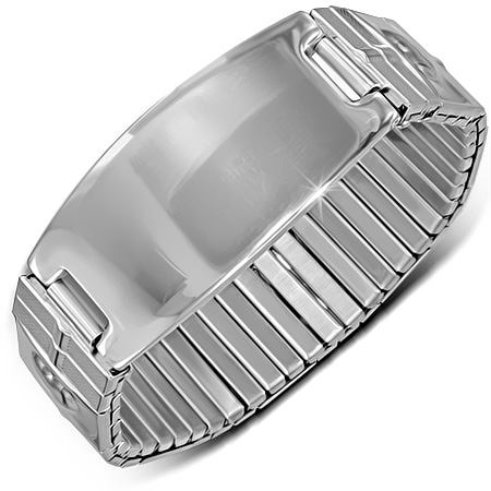 RVS heren armband Stretch Engravable ID Bracelet