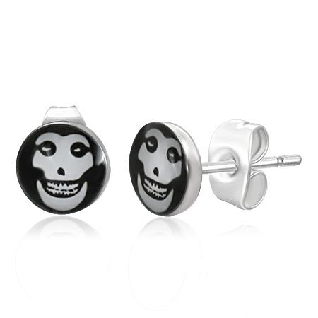 RVS heren oorbellen Evil Skull 7mm