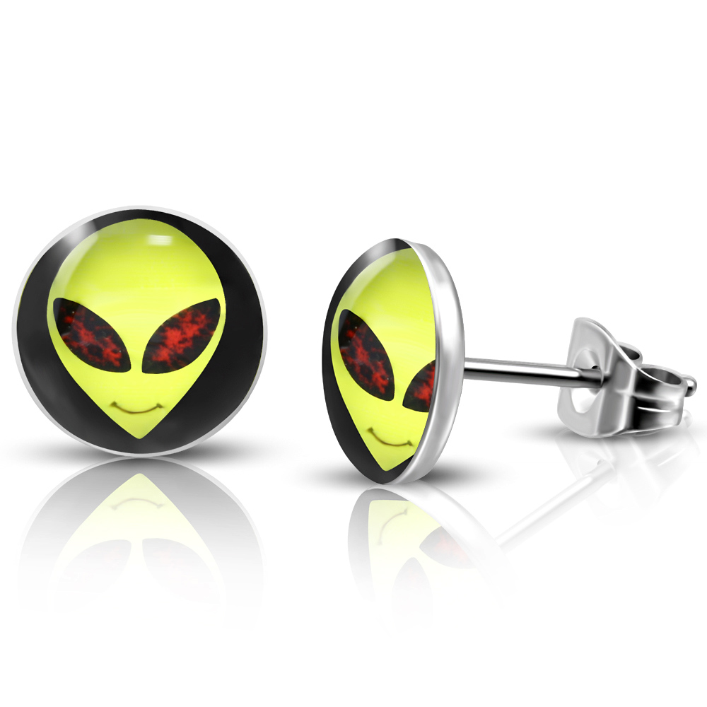 RVS heren oorbellen Alien Face Circle Stud 7mm