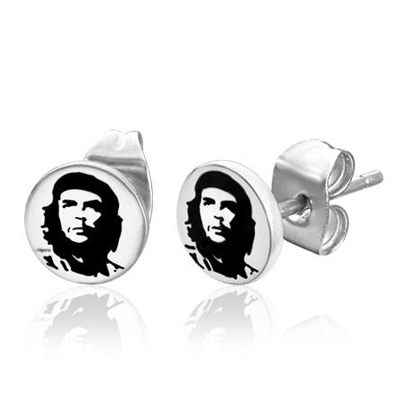 RVS heren oorbellen Che Guevara Symbol 7mm