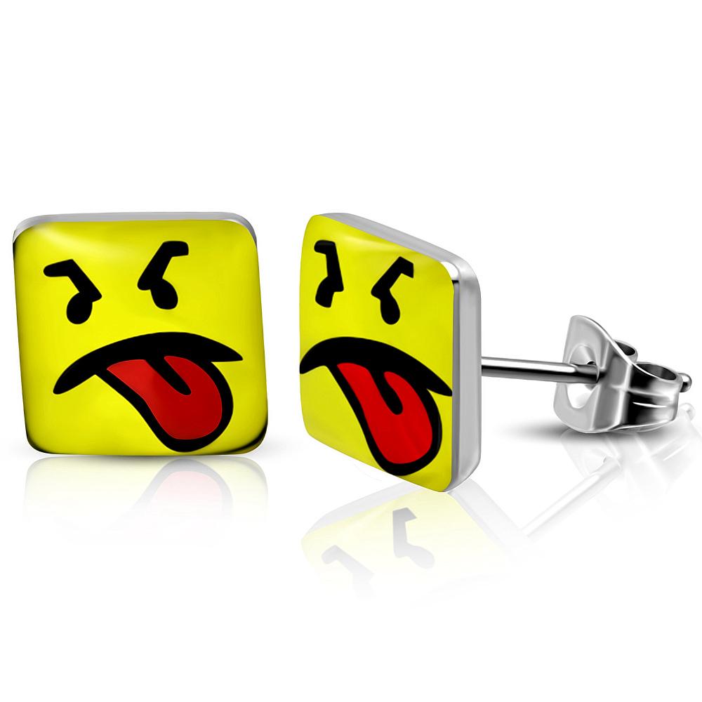 RVS heren oorbellen Disgusted Smiley 7mm