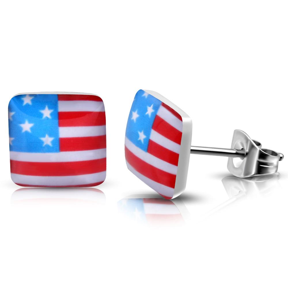 RVS heren oorbellen Flag Of The USA 7mm