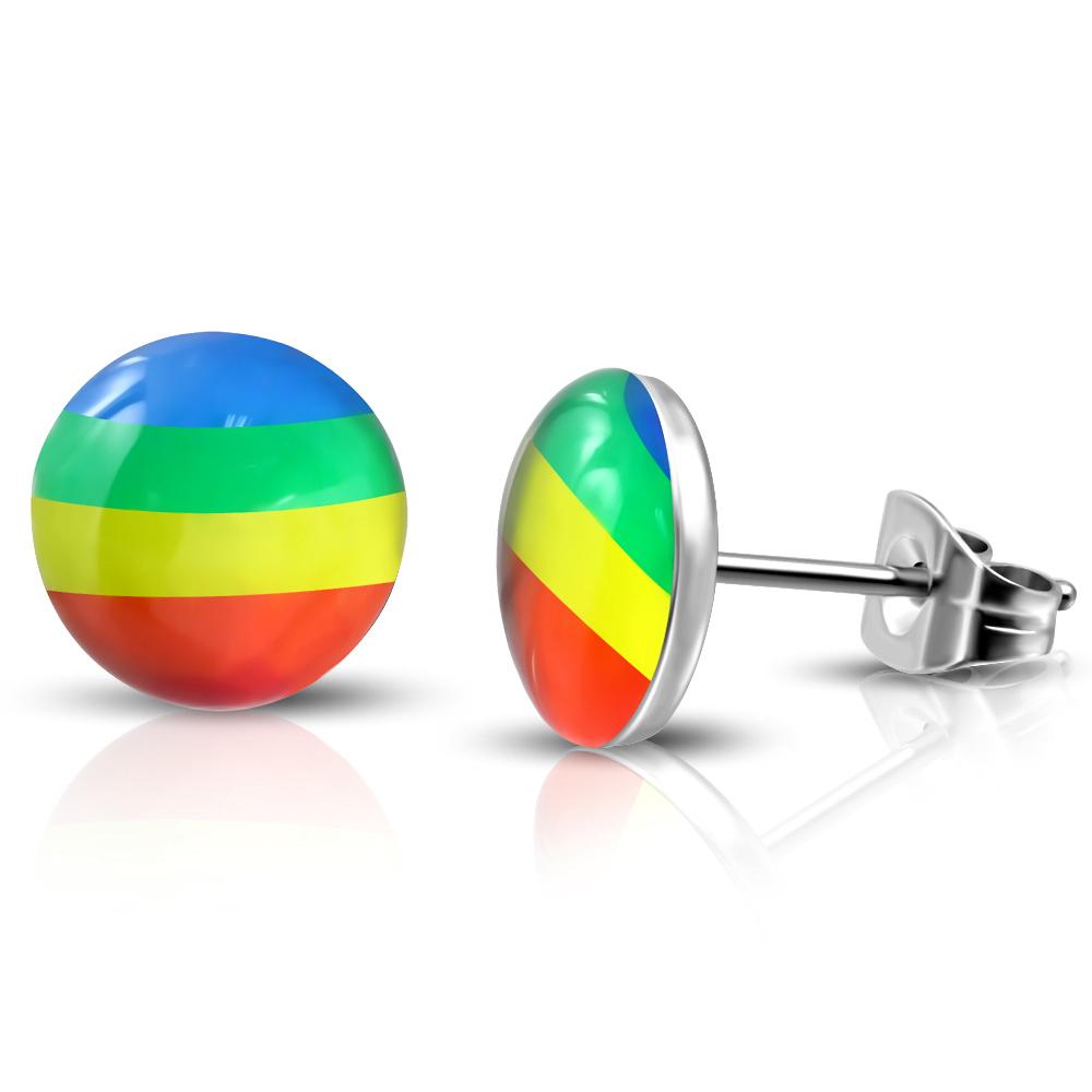 RVS heren oorbellen Rainbow Circle Stud 7mm