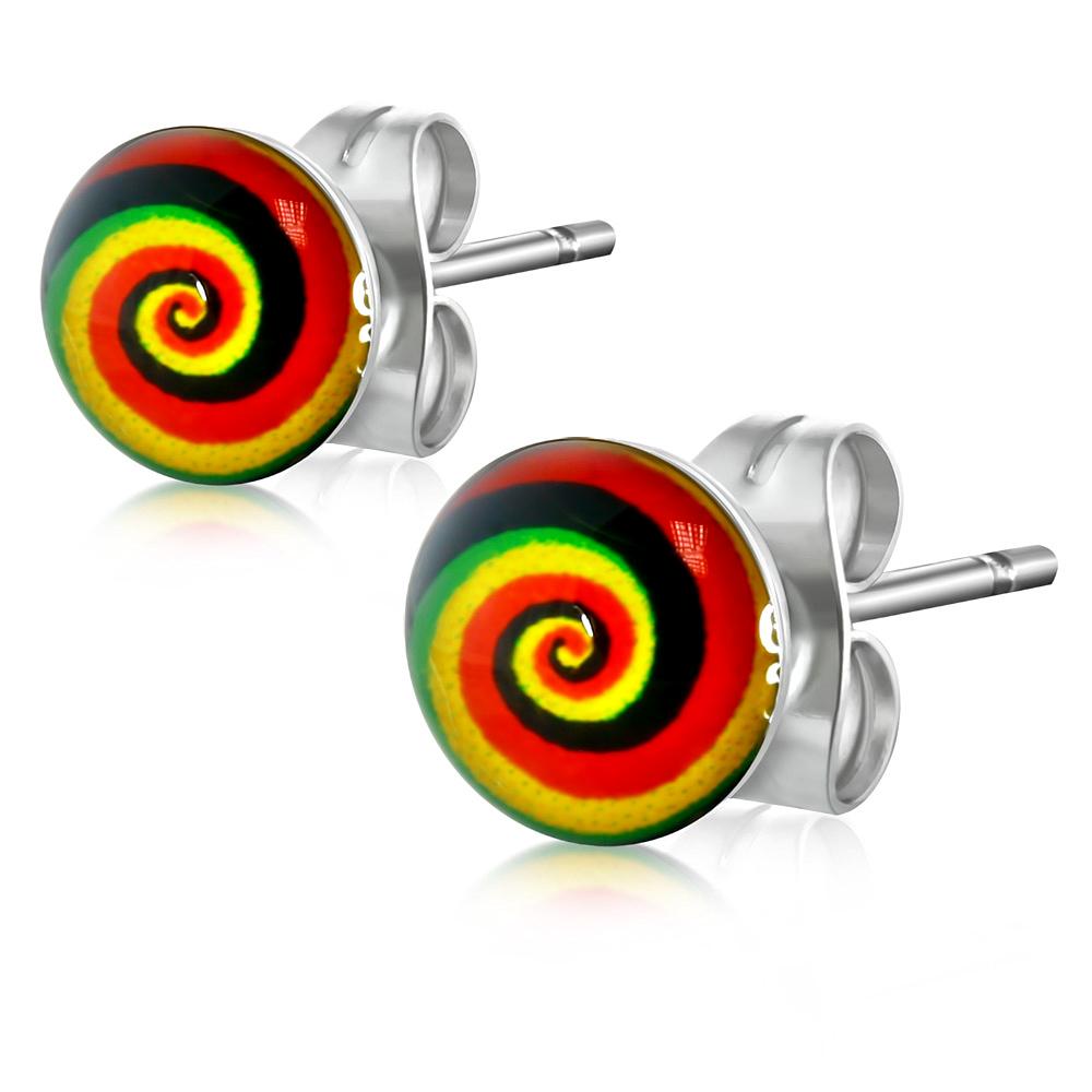 RVS heren oorbellen Spiral Gay Pride Symbol 7mm