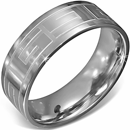 RVS heren ring Stainless Steel Greek Key Comfort Fit