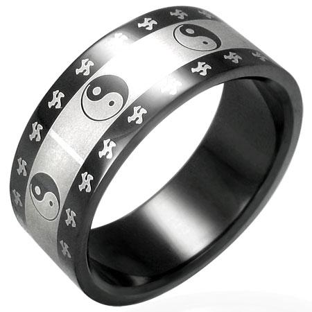 RVS heren ring Yin-Yang Symbol 8mm