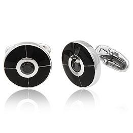 RVS manchetknopen Zwart/Zilver