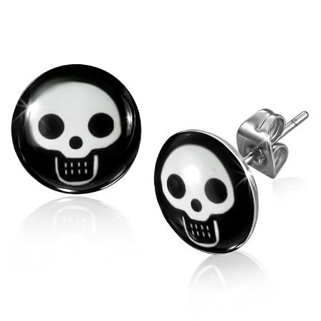 RVS oorbellen Baby Skull Circle Stud 10mm