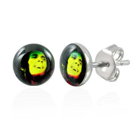 RVS oorbellen Bob Marley Stud 7mm