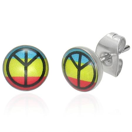 RVS oorbellen Colourful Peace Stud 7mm