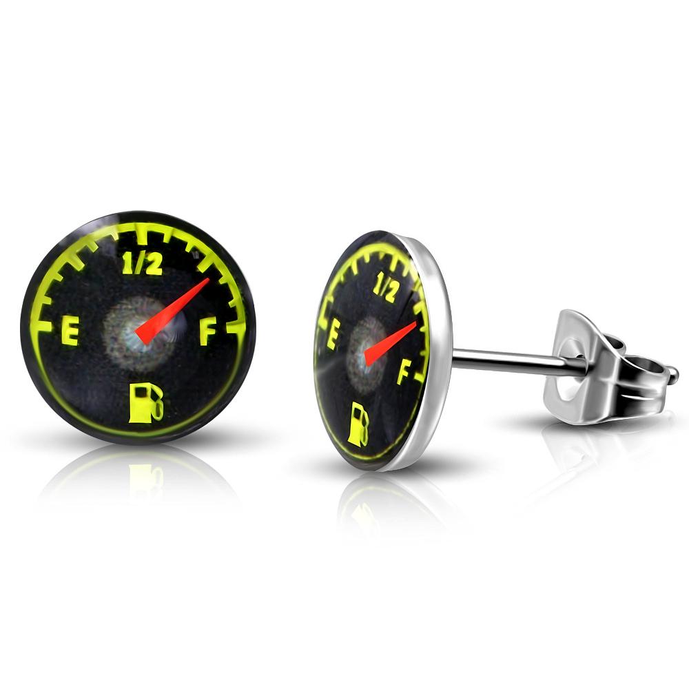 RVS oorbellen Fuel Gauge Circle Stud 7mm