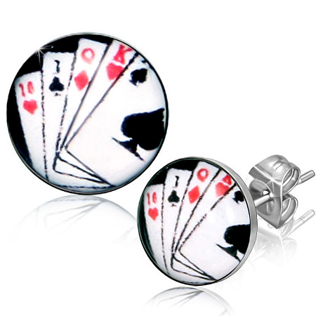 RVS oorbellen Poker Face 7mm