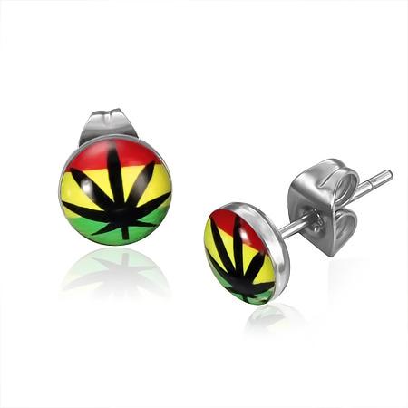 RVS oorbellen Reggae Marijuana Ganja Leaf 7mm