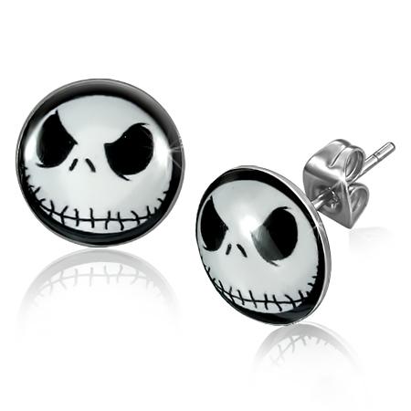 RVS oorbellen Skull Ghost Circle Stud 10mm