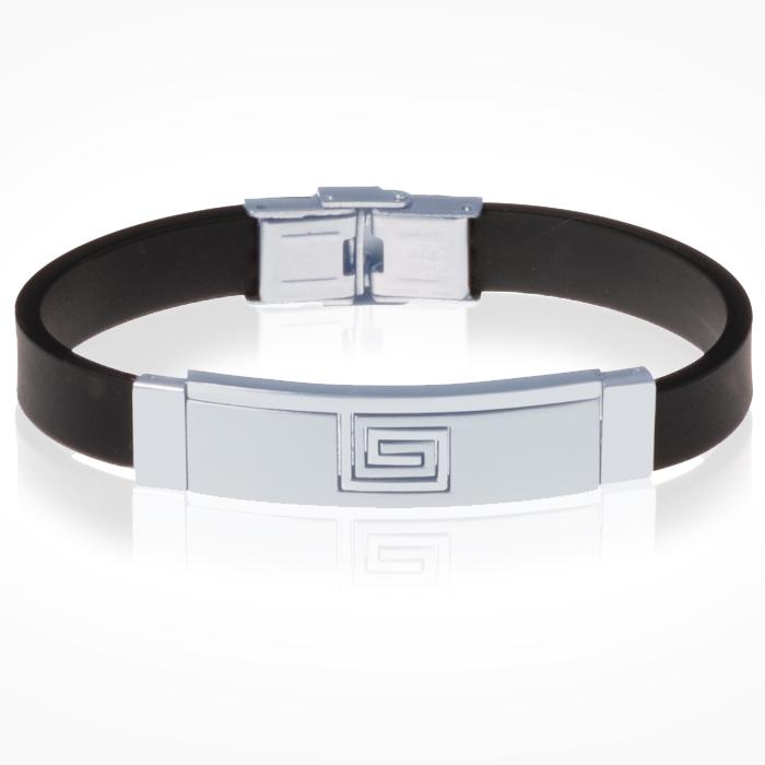 Siliconen heren armband RVS Element Greek