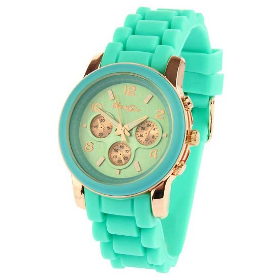Souris D'or dames horloge Rose Turquoise