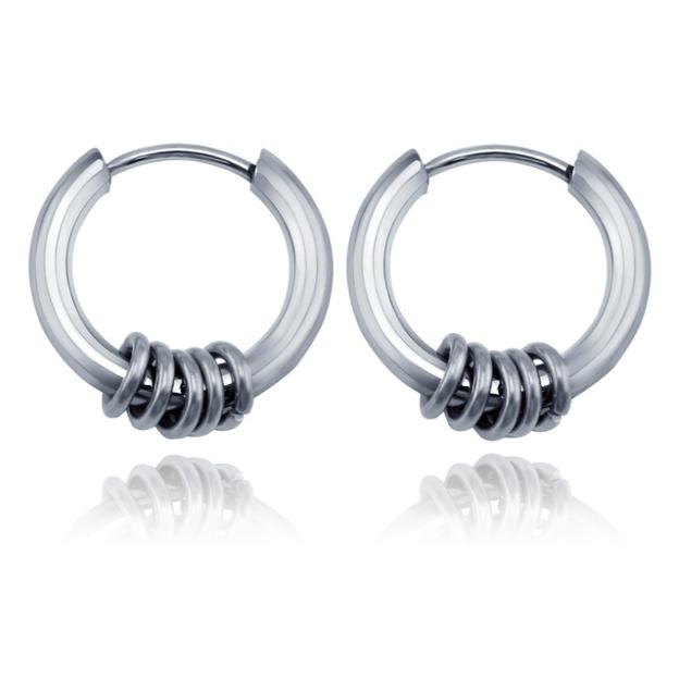 Stalen creolen Flexible Rings Silver-12mm