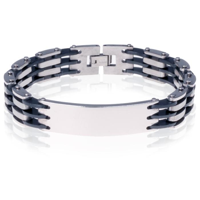 b60695402f6 Stalen Heren Armband Met Rubber Graveer huismerk kopen in de aanbieding
