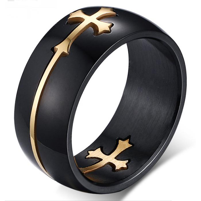 Stalen heren ring Cross Gold