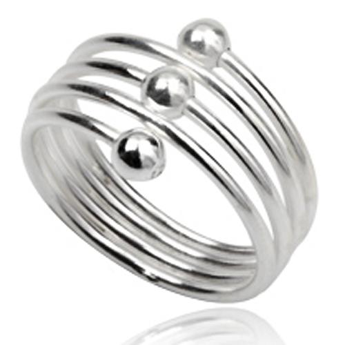 Stijlvolle 925 zilveren dames ring Silver Plain Beads